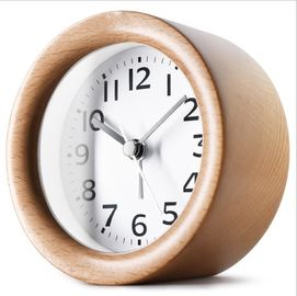 China Round Shape Wood Grain Alarm Clock Stopwatch Movement Type 1*AAA Battery Powered supplier