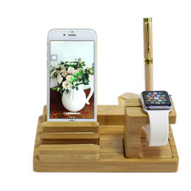 China Multi - Function Wooden Mobile Charging Station 100% Nature Bamboo Material Made supplier