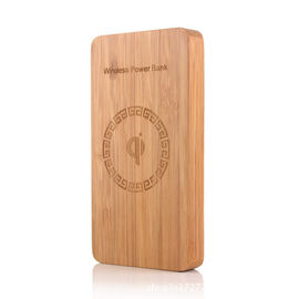 China Ultra Thin 6000mAh Wireless Charging Power Bank Bamboo Color 200g Weight supplier