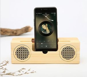 China Dual - Horn Wood Grain Bluetooth Speaker with Hands - Free Intelligent Calls Function supplier