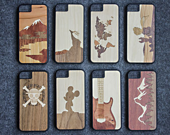 China Ultra Slim Luxury Bamboo Wood iPhone Case Laser Personality Pattern OEM Available supplier