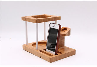 China Multi Function Bamboo Wood Cellphone Stand , Tablet / Watch / Amazon Echo Speaker Holder supplier