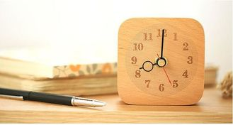 China Silent Digital Table Square Wood Clock , Beech Wood Bedroom Desk Clock supplier