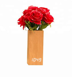 China Wooden Digital LED Clock with Flowerpot Beautiful Home Decorative supplier