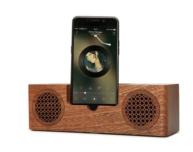 Mini Wooden Bluetooth Speaker 1200mah Battery Phone Charger Holder