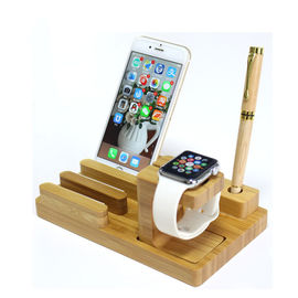 China Bamboo USB Output Wooden Phone Charger / Wireless Charging Spot for Apple Watch factory