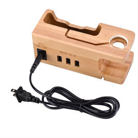 China Multi - Port Wooden Phone Charger with Apple Watch Charging Base factory