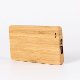 China Bamboo Texture Slim 6000mAh Wood Personalized Power Bank Charger Single USB Port Type factory