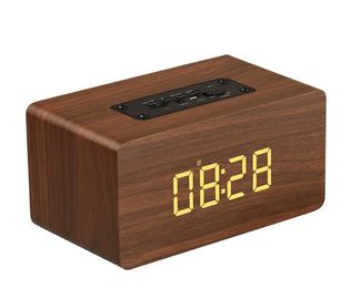 China Hifi System Wireless Bluetooth Wooden Digital Table Clock Speaker with TF Card factory
