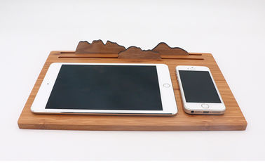 China Three in One Qi Bamboo Wireless Charger Mouse Pad iPad Use Wooden Phone Stand factory