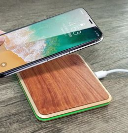 China Mobile Phone Wood Qi Charger , Real Wood Aluminium Alloy Base Desk Qi Charger factory
