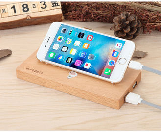 China Wood Color Slim Portable Wireless Charger Power Bank with 73% Wireless Charging Effect factory
