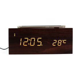 China Wireless Charger Model Wooden Alarm Clock , Bluetooth Speaker Function Wooden Digital Clock factory