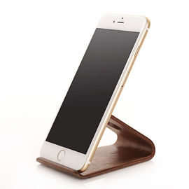China Portable Wooden Phone Holder Beech / Walnut Material Desktop Phone Stand distributor