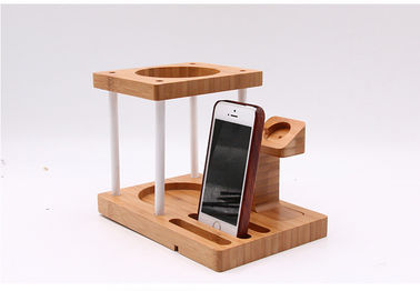 China Multi Function Bamboo Wood Cellphone Stand , Tablet / Watch / Amazon Echo Speaker Holder distributor