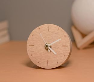 China Classic Real Wooden Alarm Clock Mini Quartz Analog Type with Customized Service distributor