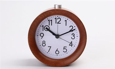 China Small Round Wooden Alarm Clock , Analog Snooze Night Light Wooden Desk Clock distributor