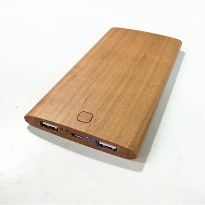 Original Wood Color Portable Powerbank Phone Charger / Power Supply Cherry Material Made