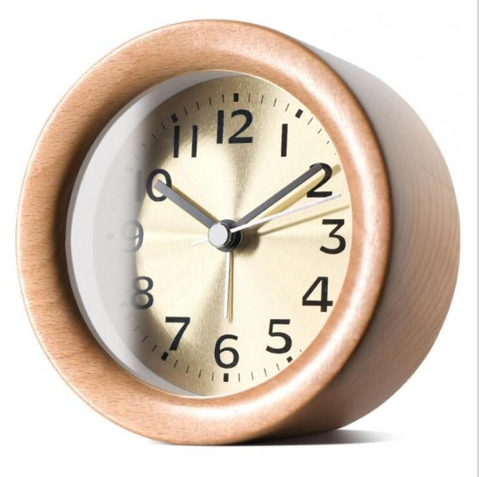 Round Shape Wood Grain Alarm Clock Stopwatch Movement Type 1*AAA Battery Powered