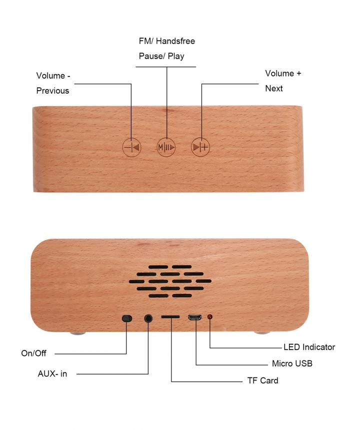 Private Label Outdoor Passive Wooden Wireless Speaker with 6 - 8H Playback Time