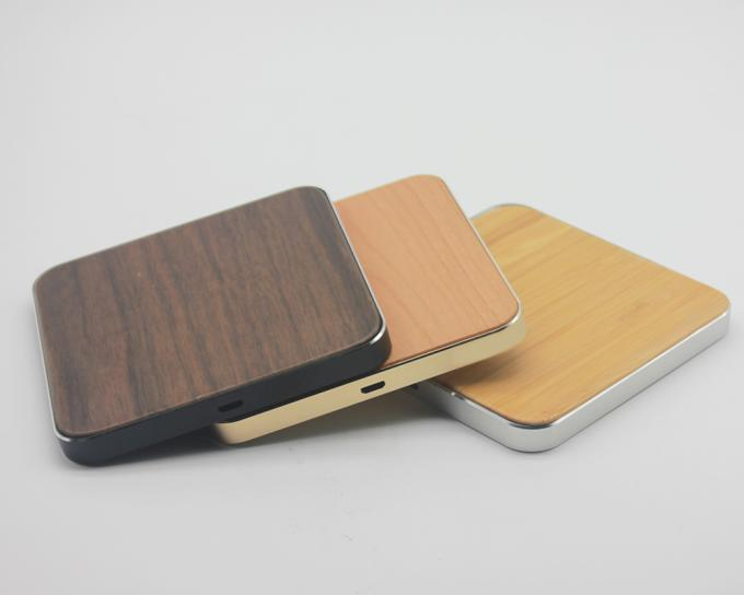 Micro USB Port Wooden Qi Wireless Charger , Portable iPhone Charging Station