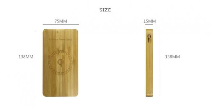 Ultra Thin 6000mAh Wireless Charging Power Bank Bamboo Color 200g Weight