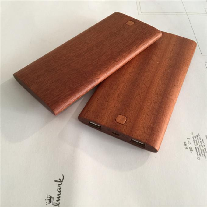 Eco - Friendly Wood Power Bank Portable Charger 8000mAh CE / RoHS / FCC Approved