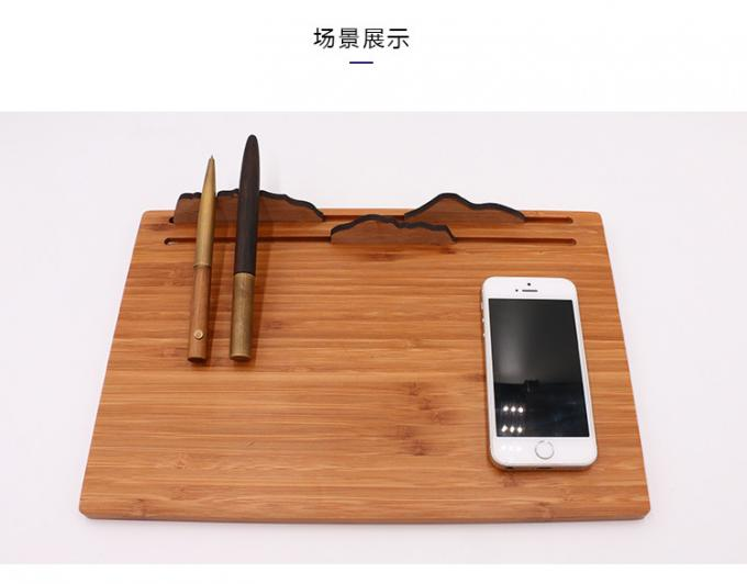 Three in One Qi Bamboo Wireless Charger Mouse Pad iPad Use Wooden Phone Stand
