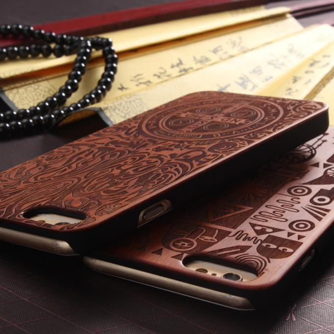 Customized PC Solid Wood iPhone Case , Environmental Bamboo Wooden Cell Phone Covers
