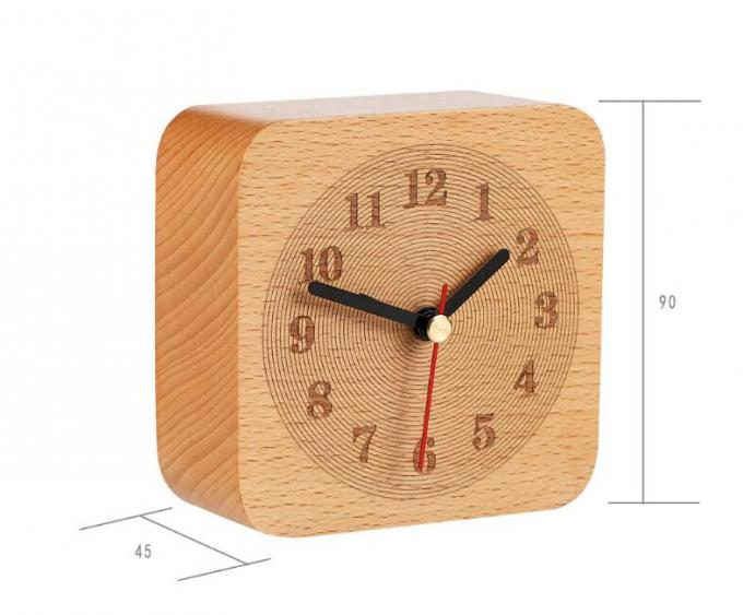 Annual Ring Type Wooden Alarm Clock Hand Made with Noctilucence