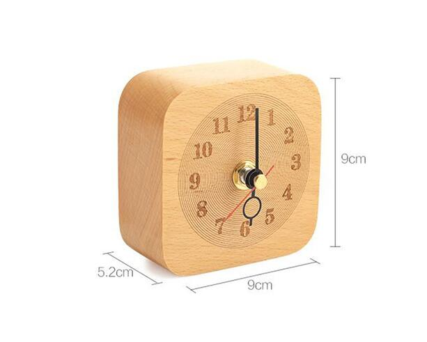 Silent Digital Table Square Wood Clock , Beech Wood Bedroom Desk Clock